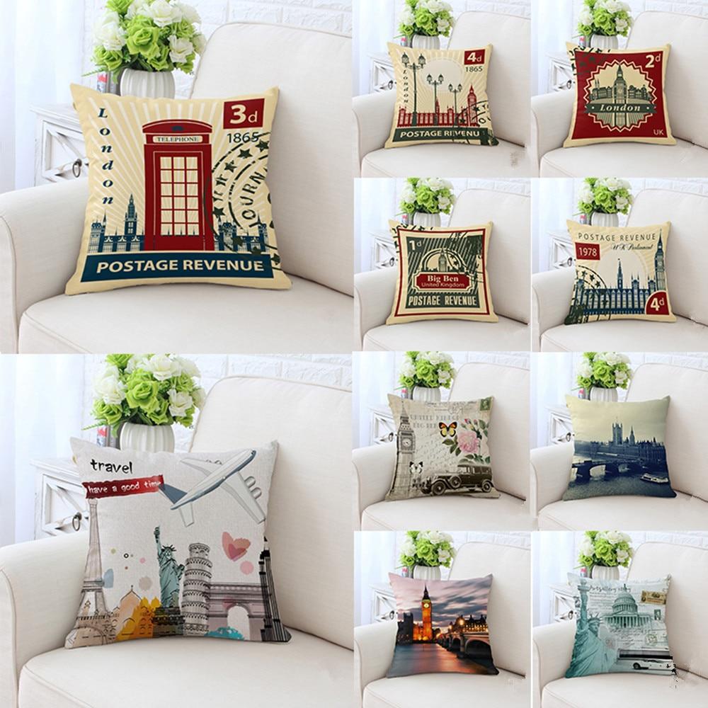 BZ023/033 England Style Pillowcase Pillow Cover Washable Cotton Case Home Textile 45cm*45cm/18x18 Inch