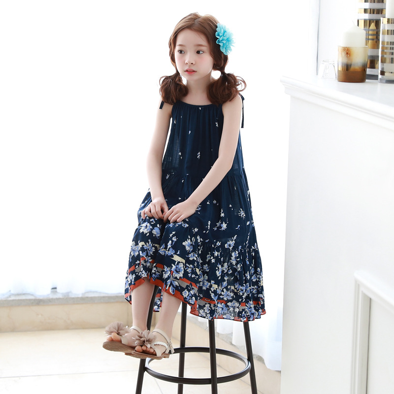 2017 Summer New Fashion Children's Clothing Strapless Floral Girls Bohemian Long  Maxi Beach Dark Blue Dress For Teenager Kids светильник 300204 or aqua helios