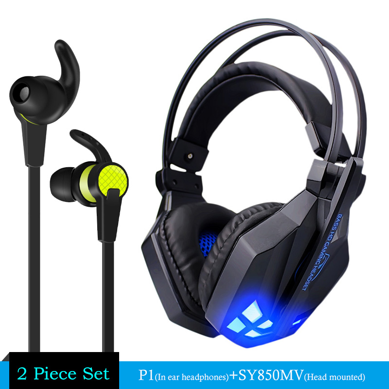 Gaming Headphone casque Sy850 Best Computer Stereo Deep Bass Game Earphone Headset with Mic LED Light for PC + P1 Earphone Gift 2pcs each g1000 over ear game gaming headset earphone headband headphone with mic stereo bass led light for pc gamer
