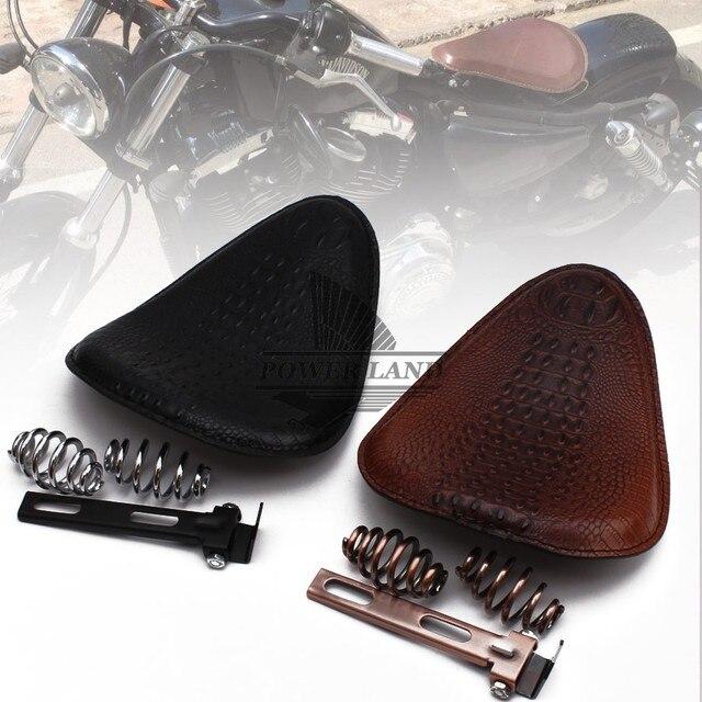 """Para Harley Custom Chopper asiento de cuero asiento motocicleta Retro marrón/Negro cocodrilo cuero estilo asiento individual + 3 """"Soporte de resorte"""
