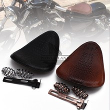 for Harley Custom Chopper Leather Saddle Seat Motorcycle Retro Brown/Black Crocodile Style Solo Seat+3 Spring Bracket