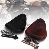for Harley Custom Chopper Leather Saddle Seat Motorcycle Retro Brown/Black Crocodile Leather Style Solo Seat+3 Spring Bracket