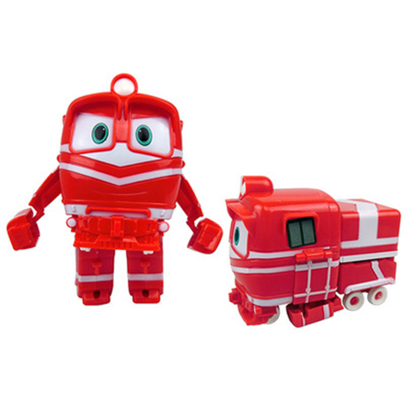 NEW Hot 13cm Robot Trains Transformation Kay Alf Dynamic Train Family Deformation Train Car Action Figure Toys Doll For Children