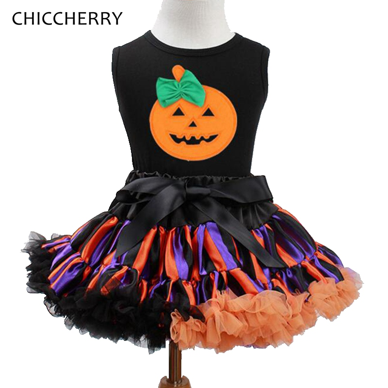 Pumpkin Fashion Kids Halloween Costumes For Girls Halloween Outfits Top Tutu Skirt Children