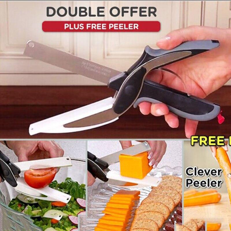 Neue Multi-Funktion Smart Clevere Cutter Scheren 2 in 1 Schneiden Bord Utility Cutter Edelstahl Ourdoor Smart Gemüse messer