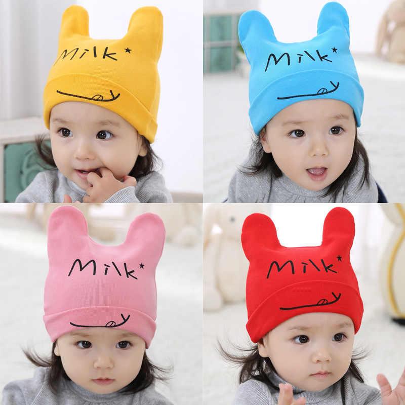 뜨거운 패션 2019 귀여운 아기 아기 모자 남성과 여성 어린이 단색 문자 부드러운 면화 탄성
