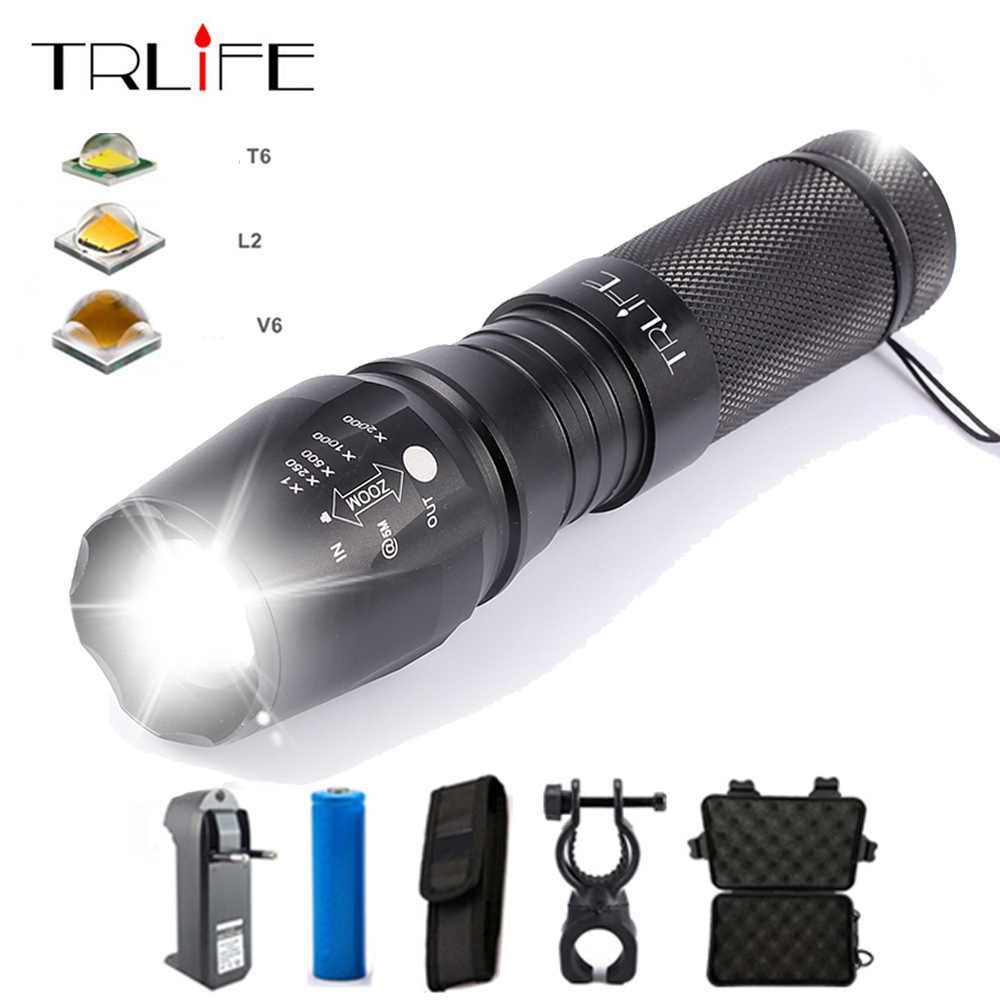 Jauns V6 10000Lums Taktiskais lukturis E97 X800 Laterna L2 T6 LED spuldze ar maināmu gaismu ar 3xAAA / 1x18650 vai 26650 akumulatoru