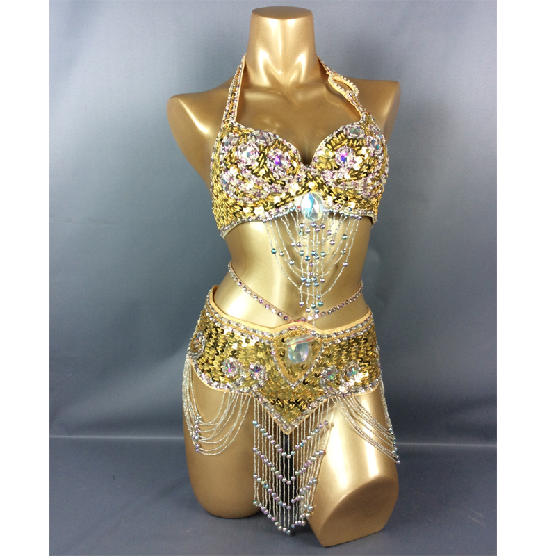 Hot Selling Women Belly Dancing Suite Belt+bra Samba Costumes Club USA Bra Size 34B,36B,38B,40B,34D,36D,38D,40D,42D