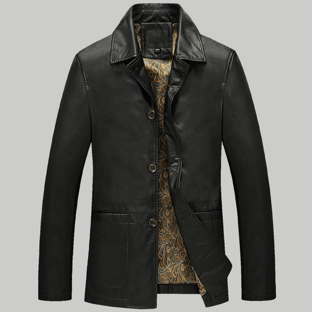 Low Price Sales!the New 2017 Men's Leather Brand High Quality Men's Locomotive Middle-aged Man Big Yards Warm Fur Coat Jacket