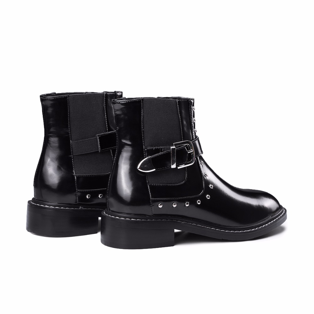 Chelsea Bottes Goujons Avec Plat Rivets Mode Cheville Élastique Hiver Slip Bande Chaussures Arden Furtado Femme 2017 Sur Nouveau Noir wPTqX