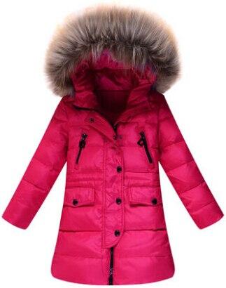 Новое Прибытие 2016 Зимой Дети вниз куртки Девушки Вниз Зимняя Куртка Меховой Воротник Капюшоном Средней длины Теплый Дети Парки верхняя одежда