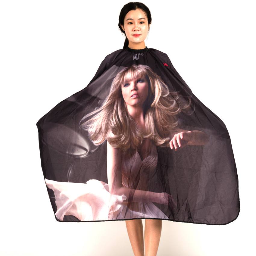 Ilmainen toimitus Professional Soft Salon Adult Hair Cape Girl kuvio painatus puku kampaamo, Salon leikkaus Wrap S078