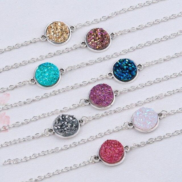 "DoreenBeads Resin Drusy Bracelets Silver color & Antique Silver Green Round 17cm(6 6/8"") long Boho Woman, 1 Piece"