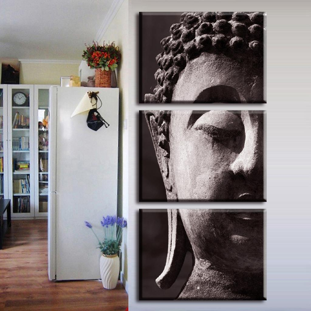 3 Pcs Set Artist Canvas Still Life Painting Art On Buddha Vertical Forms Wall Paintings Decorative Picture In Calligraphy From