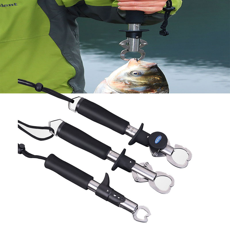 Weigh Stainless Steel Portable 15kg/33LB Fish Lip Grip Grabber Fishing Gripper with Weight Scale & Ruler Type Fishing Tool