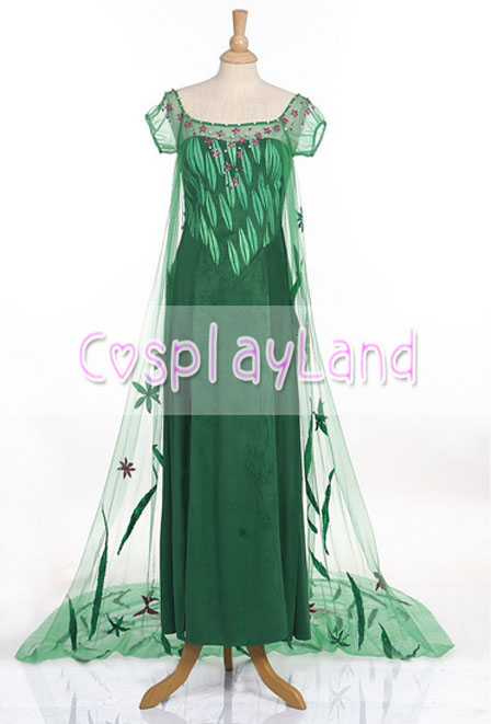 Fever Elsa Green Dress for Adult Women Elsa Princess Cosplay Costumes for Birthday Partie Princess Party Dress Halloween Costume