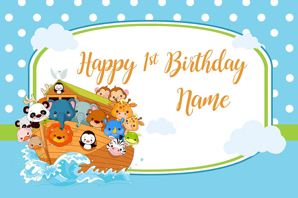 Mehofoto Cartoon zwierząt zdjęcia tła tło urodziny dla dzieci morze łódź żeglarstwo wsparcia dodać nazwa winylowe