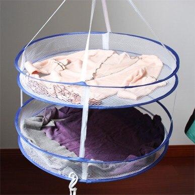 Hemtorkare Tygduk Nät Torkhållare Halsduk Dubbelskikt Underkläder Torkställ Rackfällning Hängande kläder Tvättkorg 60CM
