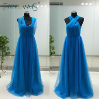 Real Photos Floor Length Pleats Blue Bridesmaid Dresses Sweetheart Convertible Long Cheap Bridesmaid Dress