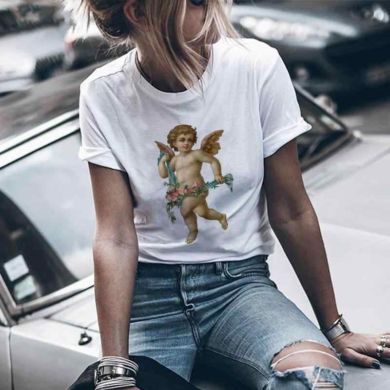 "GAAJ ""angel"" T Shirt Women T Shirt Tops Woman T-Shirt Woman Slim O-neck Print 2019 New Cotton T-shirt Tee 8ONR0#"