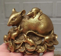 Chinese copper brass Statue Figurine Rat fengshui Mouse Statue home decoration gifts metal handicraft