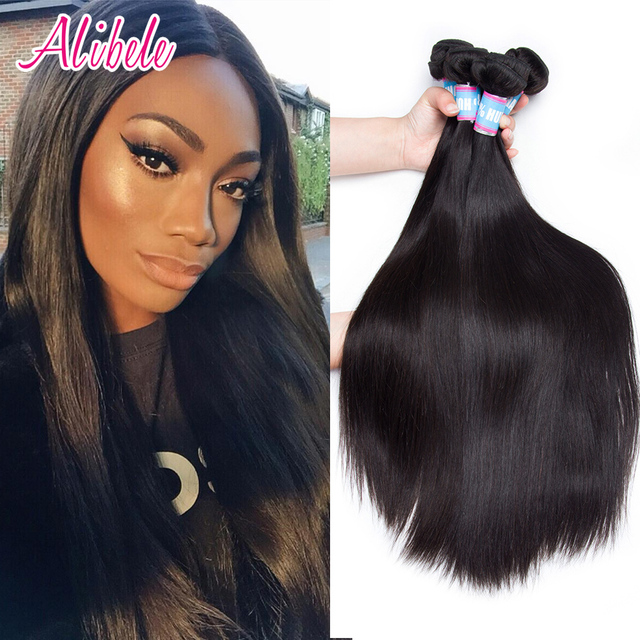 Alibele Brazilian Straight Hair 1or 4 Bundles Remy Hair Extensions