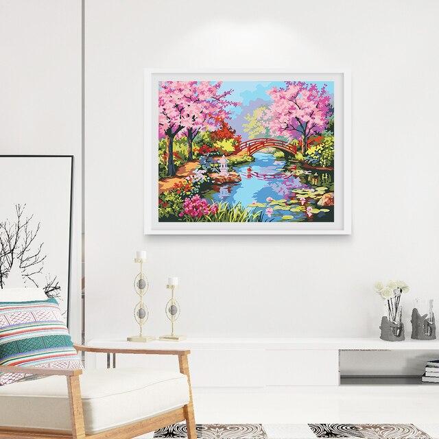 Pintura al óleo Digital sin marco primavera paisaje pintado a mano ...