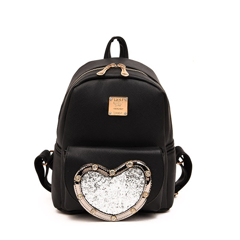 Fashion New backpack High quality PU leather Women bag Sweet girl mini shoulder bag Cute Love sequins Sequins small backpack sweet college wind mini school bag high quality pu leather preppy style fashion girl candy color small casual backpack xa384b