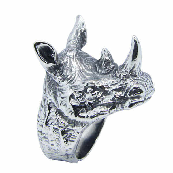 Cool Rhino Head 316L Stainless Steel Golden Silver Rhino Ring Bad Ass Mens  Jewelry Fashion Animal Ring