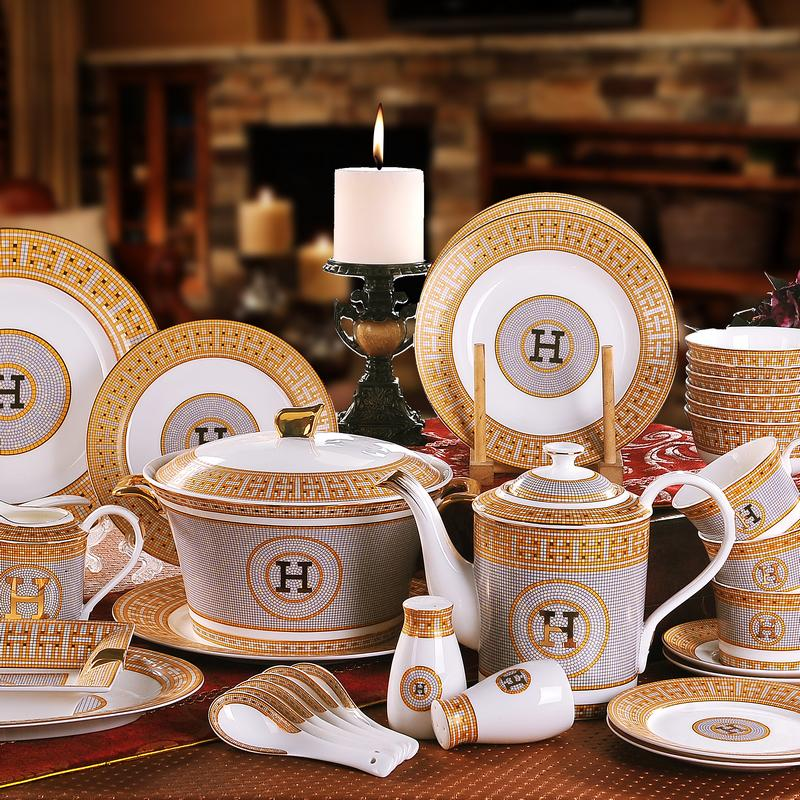 "Porcelain Dinnerware Set Bone China ""H"" Mark Mosaic Design Outline In Gold 58pcs Dinnerware Sets Dinner Set Housewarming Gifts"