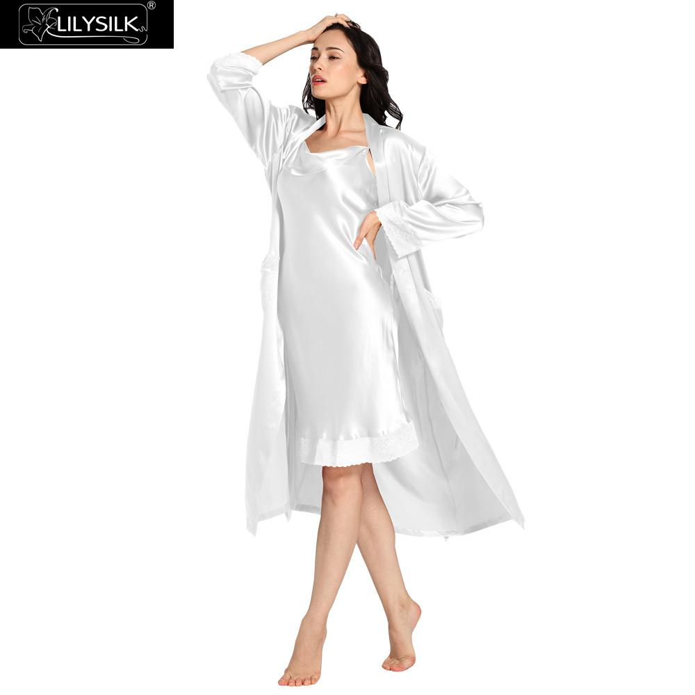 0d710d1744c Lilysilk Nightgown Robe Set 100% Silk With Pocket Women 22 Momme Long  Sleeve Lace Luxury Lingerie Pure Wedding Bride Sleepwear
