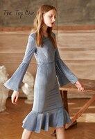 2017 European And American Women S New Winter V Neck Long Sleeve Velvet Fishtail Elegant Dresses