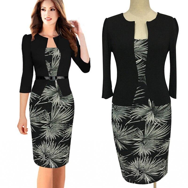 Fd3415a Lady Pine Leaves Print Patchwork Plus Size Pencil Dress