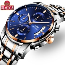 OLMECA  Military Relogio Masculino Water Resistant Watches Fashion Chronograph Wrist Watch Luminous Hands Clock Stainless Steel olmeca fashion military clock relogio masculino 3atm waterproof watches chronograph wrist watch watches for men stainless steel