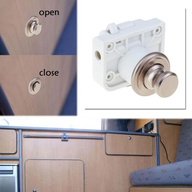 Handle On Push Lock Camper Car Rv Caravan Boat Cabinet Hardware Latch Cupboard Door With