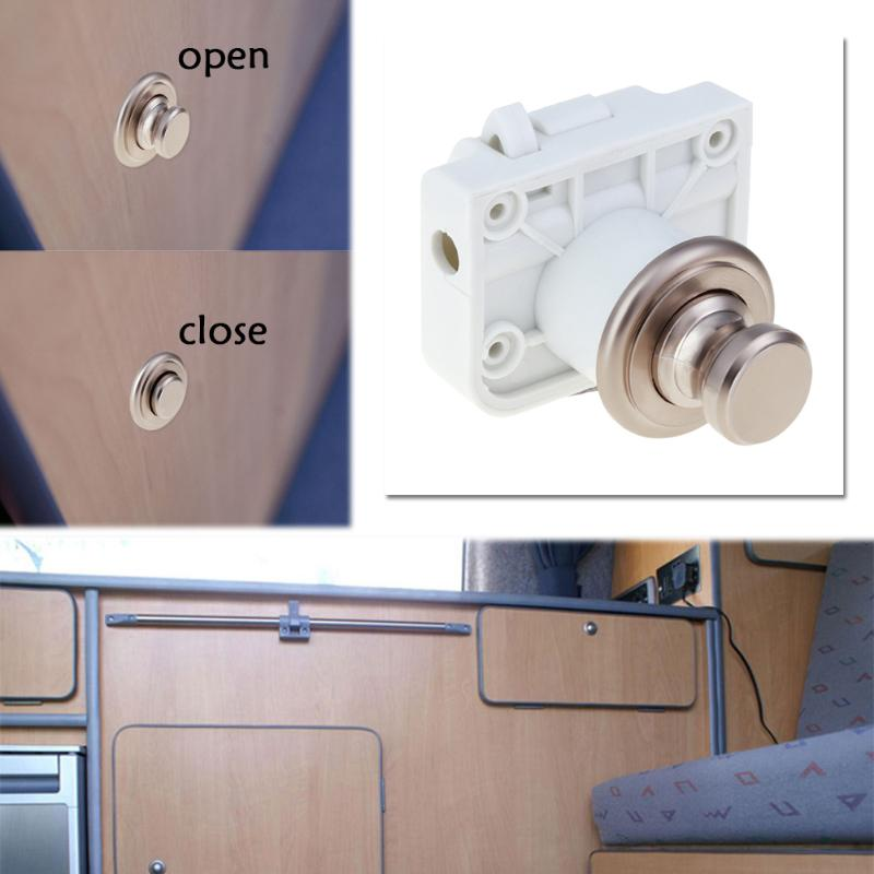 New Handle Button Push Locks Camper Car RV Caravan Boat Cabinet Hardware  Latch With L Shape Anti Shock Film High Quality In Locks From Home  Improvement On ...