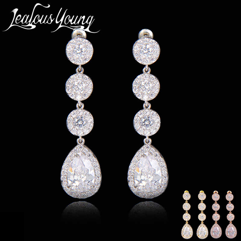 Gift 2017 Top CZ Paved Sweet Dangle Drop Earrings For Women Classic Wedding Jewelry Party Fashion Jewelry AE194