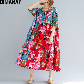 DIMANAF Women Summer Dress Plus Size Large Clothing Femme Elegant Lady Vestidos Print Floral Casual Oversized Pleated Loose Red dimanaf plus size dress women clothing sundress chiffon floral print elegant lady vestidos loose vintage dress oversize 5xl 6xl