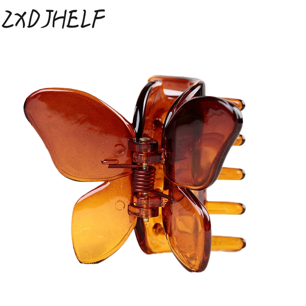 ZXDJHELF Hair Ornaments Acrylic Claw Clip Headwear Accessories Plastic Hairband For Women Jewelry Crab Butterfly Hairpins F072