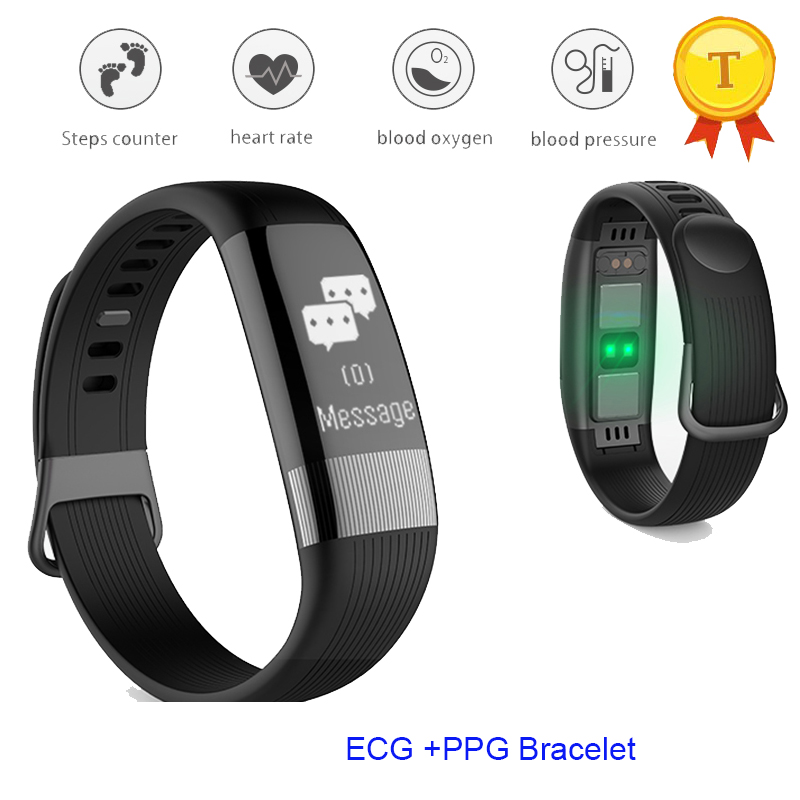 2019 new PPG Smart Wristband Sports Bluetooth Sport Smart Bracelet Watch E18 Heart Rate Monitor ECG