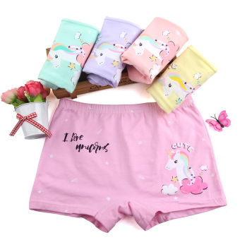 Organic Cotton Cartoon unicorn Girls Underwear Brand Girls Panties Shorts Panty Baby Girls Boxers Child Underpants 5pcs/lot Baby Clothes Kid (3+ years) Panties Shop by Age Toddler (1-3 years)