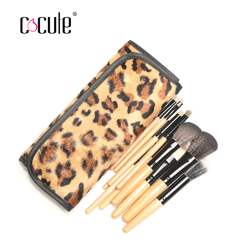 12 Pcs Professional Natural Wooden Handle Cosmetic Makeup Powder Brush Brushes Set Leopard Case 15 colors