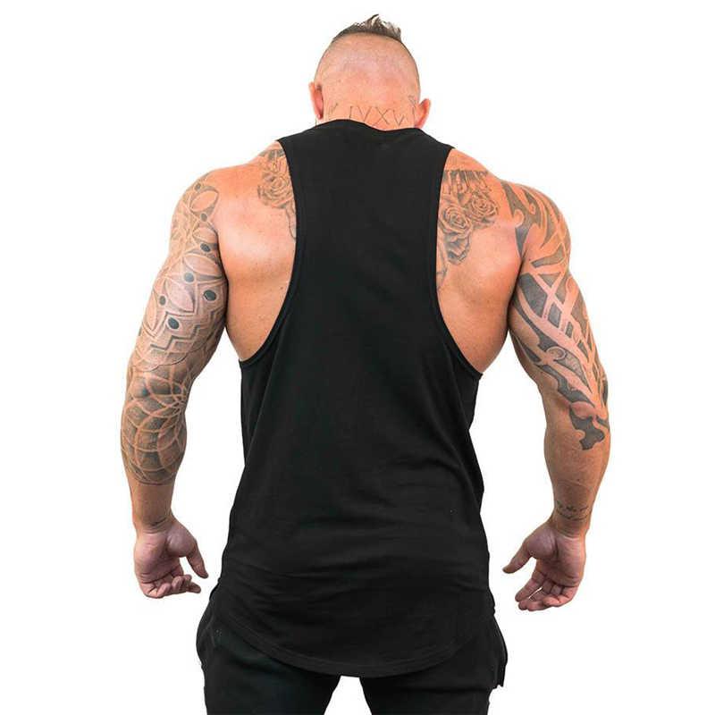 Otot Orang Binaraga Stringer Tank Top dengan Berkerudung Pria Gym Pakaian Kebugaran Sleeveless Hoodie Rompi Katun Baju Dalam Tankops
