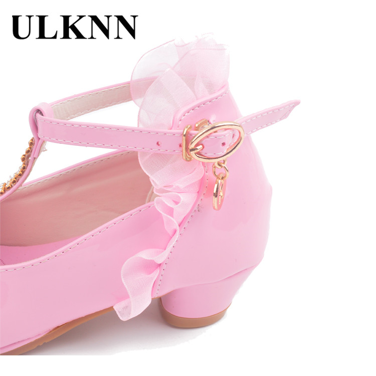 Image 5 - ULKNN Children Party Leather Shoes Girls PU Low Heel Lace Flower Kids Shoes For Girls Single Shoes Dance Dress shoe White Pink-in Leather Shoes from Mother & Kids