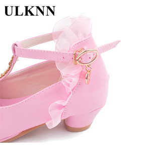 Image 5 - ULKNN Children Party Leather Shoes Girls PU Low Heel Lace Flower Kids Shoes For Girls Single Shoes Dance Dress shoe White Pink