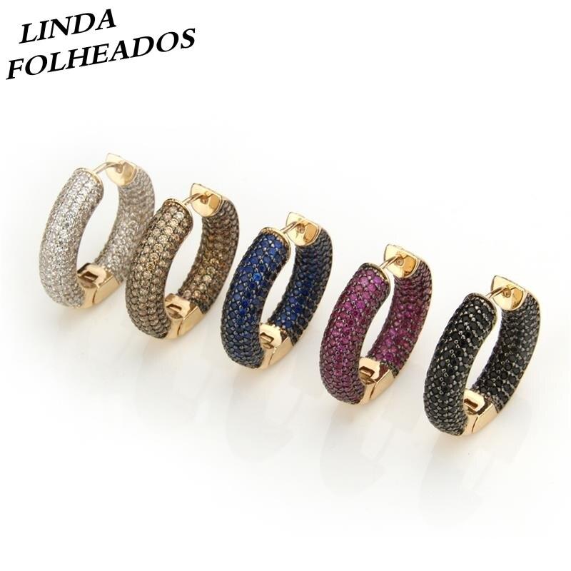 LINDA FOLHEADOS Gold AAA Zircon Large Multi Colors Full CZ Brincos Circle Large Hoop Earrings Jewelry Party Gift|Hoop Earrings| - AliExpress