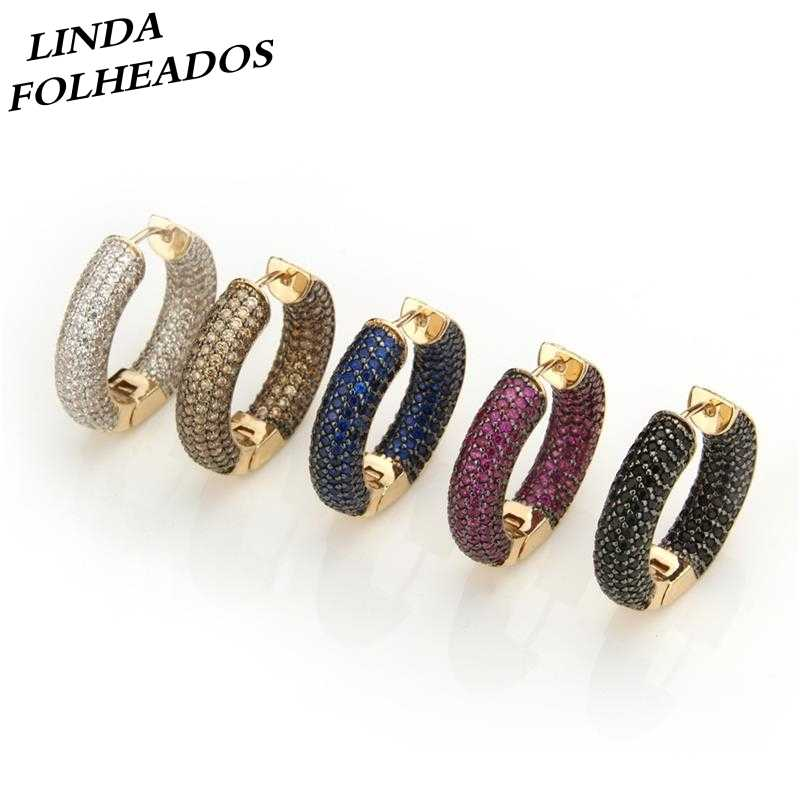 c49652e16 LINDA FOLHEADOS Gold AAA Zircon Large Multi Colors Full CZ Brincos Circle  Large Hoop Earrings Jewelry
