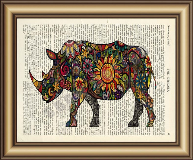 Rhinoceros Dictionary Canvas painting wall Art Poster Print Pictures ...