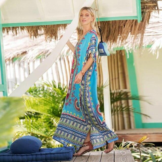 Elegant Dresses for Women Summer 2018 Ethnic Dashiki Dress Robe Traditional  African Clothing Long Maxi Tunic Dress 76637380bf4b