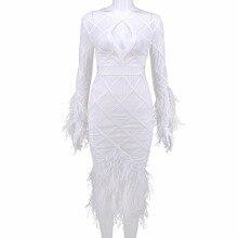 82b9107814407b Vrouwen Sexy Witte Lange Mouwen Me Astrich Veer Mesh Bandage Jurk 2018  Dames Elegante Celebrity Avond Party Jurken Q-93